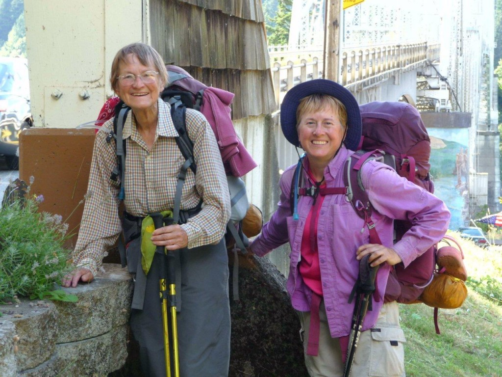 Alsie and Mary at Bridge of the Gods at the end of their walk across Oregon.
