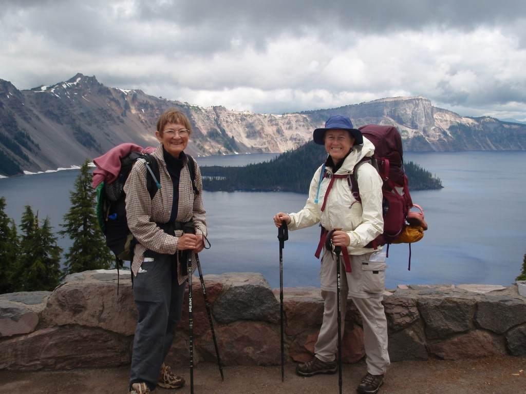 Alsie and Mary pause at an overlook at Crater Lake.